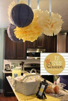 Inexpensive baby shower ideas // I'll never be a momblog-quality baby shower-thrower, because it just doesn't occur to me that I need a contrasting tablecloth..