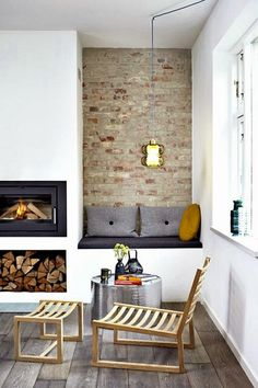 3 Playful Tricks: Modern Minimalist Living Room Diy minimalist home interior architecture.Modern Minimalist Living Room Marble minimalist home organization do you.Traditional Minimalist Home Dining Rooms. House Design, New Homes, House Interior, Fireplace Design, Home Living Room, Minimalist Fireplace, Interior, Built In Bench, Home Decor