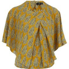 Yellow printed cape blouse