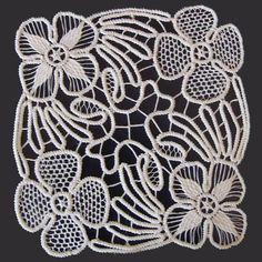 "White Point Lace, Romanian Crochet Doily, Floral Pattern , 6"" x 6"""