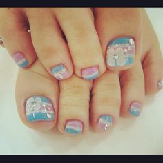 Toe Nail Art Ideas - toe Nail Art Ideas , 35 Stylish Purple Nail Art Designs for toe Nails Cute Toenail Designs, Pedicure Designs, Pedicure Nail Art, Toe Nail Designs, Toe Nail Art, Blue Toe Nails, Feet Nails, 3d Nails, Pink Nails