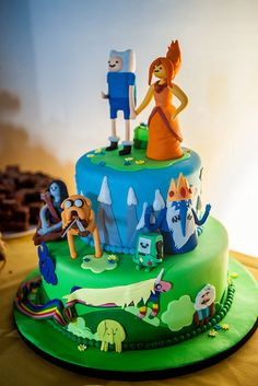 Adventure Time, come on grab your friends. Jake the dog, and Finn the human. It's Adventure Time! Adventure Time Birthday, Adventure Time Cakes, Adventure Time Parties, Beautiful Cakes, Amazing Cakes, Offbeat Bride, Cake Creations, Creative Cakes, Cake Art