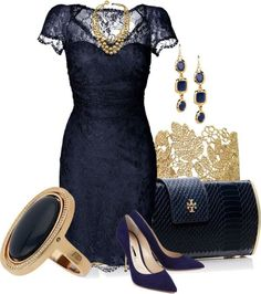 Elegant Navy Blue Dress with Gold Accessories