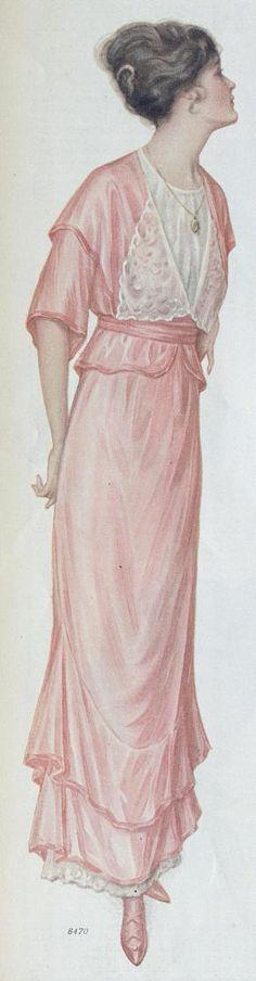 Pink silk party dress, Ladies Home Journal, september 1914