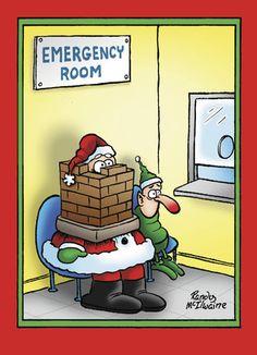Emergency Room Santa - NobleWorks - Funny Christmas Card