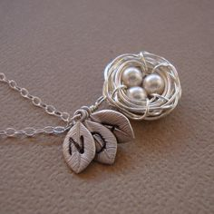 Personalized Nest Necklace Three LeavesAll STERLING by lizix26- made these for christmas 2013