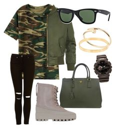 """yeezy"" by jojogogo2003 on Polyvore featuring beauty, WearAll, Prada, adidas Originals, Ray-Ban, Cartier and G-Shock"