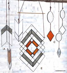 Unexpected window hangings and mobiles fuse 1970's era artistry with a modern southwest sensibility. The hanging ornaments, panels and mobile are handcrafted from a melding of clear glass and milky wh