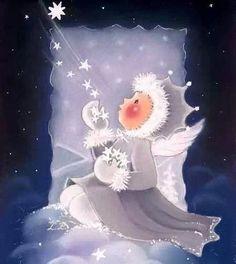Kaarina Toivanen Blue Christmas, Christmas Angels, Vintage Christmas, Christmas Crafts, Illustration Noel, Christmas Illustration, Illustrations, Christmas Drawing, Christmas Paintings