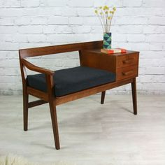 Wonderful Vintage Teak Telephone Seat home decor design furniture -omg, this is a REAL piece of furniture! The post Vintage Teak Telephone Seat home decor design furniture -om . Furniture, Interior, Furniture Decor, Living Room Decor, Mid Century Living Room Decor, Home Decor, Furniture Inspiration, Vintage Furniture, Furniture Design