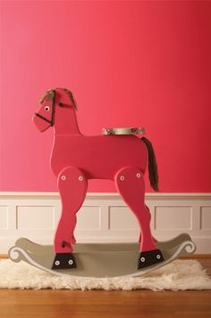 How cute to paint a rocking horse to go with the room.