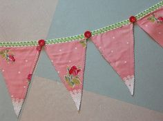 Pennant Style Flag Banner Made from Vintage Rose Fabric, Buttons and Braid Trim