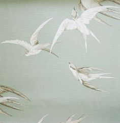 Will be purchasing this for curtains.Swallows Linen Fabric Elegant design of swallows soaring through a stormy sage grey sky, taken from a design Printed Curtains, Linen Curtains, Linen Fabric, Sanderson Fabric, Curtain Material, Curtain Fabric, Pink Fascinator, Distressed Walls