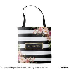 Shop Modern Vintage Floral Classic Black White Stripes Tote Bag created by UrHomeNeeds. Personalize it with photos & text or purchase as is! Cute Bridesmaids Gifts, Personalized Mother's Day Gifts, Striped Tote Bags, Custom Tote Bags, Day Bag, Black White Stripes, Pink Black, Vintage Floral, Bag Making