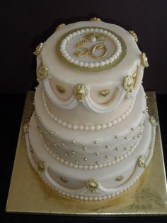 Classic 50th wedding anniversary cake. Could change the colors and number for any anniversary