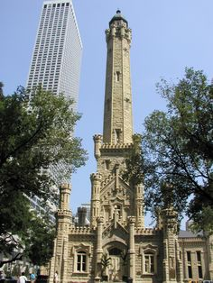 Chicago Water Tower by William Boyington) It's a common myth that the Chicago Water Tower was the only building that remained standing after the Great Fire of But it just became the most iconic one. Tower Group, Chicago Water Tower, Chicago Architecture Foundation, The Great Fire, Chicago Area, My Kind Of Town, Most Beautiful Cities, Beautiful Architecture, Great Lakes