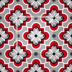 Moroccan tile pattern - Grey and Red Fabric Grey And Red Living Room, Gray And White Kitchen, Red Kitchen, Kitchen Redo, Kitchen Ideas, Red Blinds, White Kitchen Curtains, Relax, Yellow Accents
