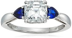 PlatinumPlated Sterling Silver Swarovski Zirconia 3Stone AsscherCut and Created Sapphire Ring size 6 >>> Details can be found by clicking on the image.Note:It is affiliate link to Amazon.