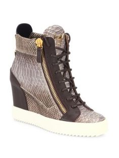 GIUSEPPE ZANOTTI Snakeskin-Embossed Leather High-Top Wedge Sneakers.   giuseppezanotti  shoes 33a39c64736b