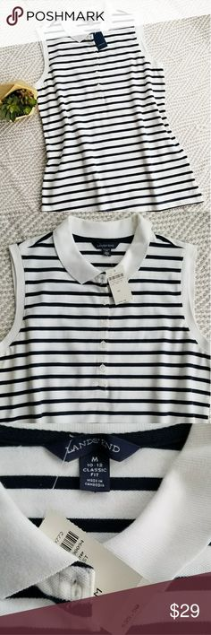 NWT Lands'End Polo %100 Cotton Shirt Lands'end Striped Classic Fit Polo Shirt, Body %97 Cotton, %3 Spandex. Collar&Cuff %100 Cotton. Navy blue & White Color. Medium size. NWT Excellent Condition Lands' End Tops Button Down Shirts