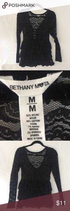 Bethany Mota Lace Log Sleeve Dress Shirt Fun Lace long sleeve Bethany Mota shirt. Cute with a pencil skirt 52 % Nylon 39% Cotton 7% Rayon. NWOT Aeropostale Tops Blouses