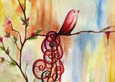 Harmony Bird- 5x7 PRINT of watercolor painting by Sara F Murphy