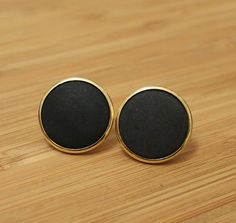 Black and Gold Ear Studs Retro by ColorSquare on Etsy, $10.50