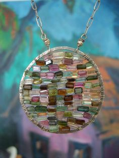 tourmaline stained glass pendant- dna jewelry designs