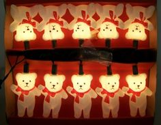 Vintage Christmas Lights Teddy Bear10 Light Strand