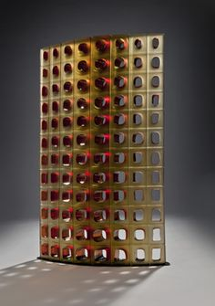 Mould Blown Glass: Amber and Scarlet Xylem I Matthew Curtis. Superb modular work - click through to see more. This one is 83cm tall.
