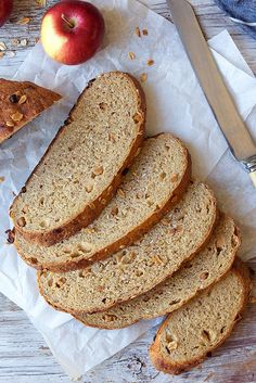 This apple-oat-barley bread is made with white whole wheat and is great toasted. Bread Machine Recipes, Bread Recipes, Baking Recipes, Barley Bread Recipe, Bread Recipe King Arthur, Flake Recipes, Barley Flour, Cinnamon Chips, Oats Recipes