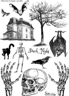 DARK Night skeletons and bats Bates Motel by cherrypieartstamps