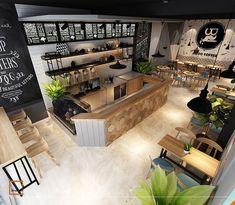 cafe restaurant Thit k qun cafe Jiboo - Coffee Bar Design, Coffee Shop Interior Design, Coffee Shop Bar, Coffee Cafe Interior, Coffee Tin, Coffee Bars, Coffee Shops, Restaurant Design, Deco Restaurant