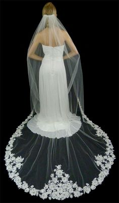 Stunningly Beautiful!  Beaded Alencon Lace Cathedral Length Wedding Veil - Affordable Elegance Bridal -