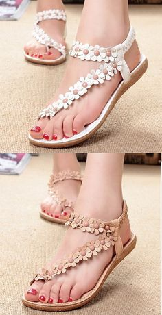 US$8.78 Bohemia Flowers Strappy Y Shape Splice Clip Toe Flat Slip On Sandals