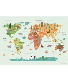 Mapamundi de 5 y 7 continentes  Colorear  Montessori DIY