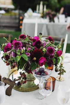 Purple Table Flowers including scabiosa and ranunculus Winter Wedding Centerpieces, Winter Wedding Flowers, Purple Wedding Flowers, Floral Centerpieces, Floral Wedding, Purple Flower Arrangements, Purple Flower Bouquet, Purple Bouquets, Table Flowers