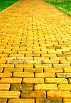 The Yellow Brick Road is a famous road paved entirely of smooth yellow bricks, which connects the various sections of the Land of Oz to the Emerald City in the center. Casa Pop, Land Of Oz, Yellow Brick Road, Mellow Yellow, Color Yellow, Bright Yellow, Emerald City, Perfect World, Shades Of Yellow