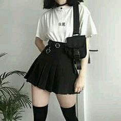 Fashion 2019 New Moda Style - fashion Goth Outfit, Tomboy Outfits, Teen Fashion Outfits, Cute Casual Outfits, Mode Outfits, Korean Outfits, Grunge Outfits, Girl Outfits, 90s Outfit
