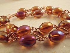 Amber and Copper Bracelet by ShayBelleDesigns on Etsy, $7.00