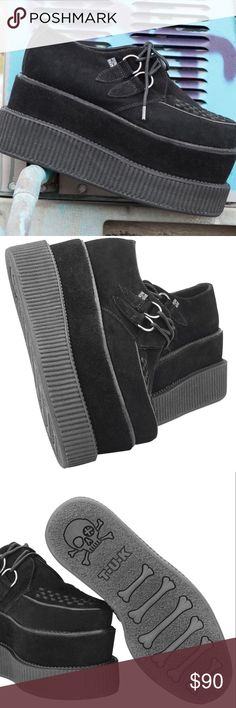 """TUK Black Suede Double Double Viva Mondo Creepers BRAND NEW IN BOX. These lifted shoes add an incredible 3.75"""" to your look! Durable, black suede shoes with silver d-rings and interlace pattern will spark up conversations wherever you go! US woman's size 8. Tags: #tuk #shoes #punk #london #creepers #fashion #style #urbanoutfitters #wasteland #dollskill #nastygal Shoes"""