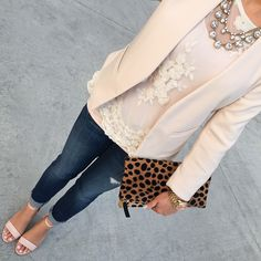 Blush collarless blazer (similar HERE) // Forever 21 lace top (similar HERE) // Blush tank (buy HERE) // Loft crystal necklace (similar HERE) // Leopard foldover clutch (buy HERE) // Loft modern jeans