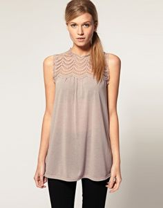 ASOS Lace Panel Shell  $39.53 (Also comes in Black)