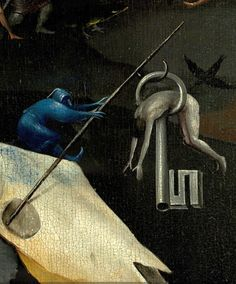 The cow-skull and the hunged-man in a key. The Garden of Earthly Delights, hell, Detail, Hieronymus Bosch Hieronymus Bosch, Jan Van Eyck, Art Roman, Pieter Bruegel, Gates Of Hell, Garden Of Earthly Delights, Renaissance Paintings, Cow Skull, Dutch Painters