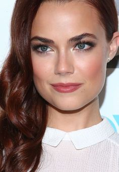 Actress Rebecca Rittenhouse's shimmery eye makeup