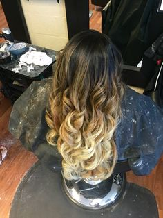 Black to blonde balayage ombre