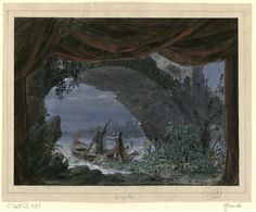 """Set design (1857), by Philippe Chaperon (1823-1906), for Act 3, Scene 2, of """"Mireille"""" (1864), by Charles Gounod (1818-1893)."""