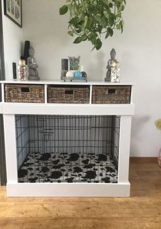 dog kennel furniture with storage ; hundehütte möbel mit lagerung dog kennel furniture with storage ; Plans dog kennel furniture - Window Seats dog kennel furniture - Do It Yourself dog kennel furniture Dog Crate Cover, Diy Dog Crate, Dog Kennel Cover, Diy Dog Kennel, Kennel Ideas, Dog Kennels, Puppy Crate, Crate Bed, Wood Dog Crate