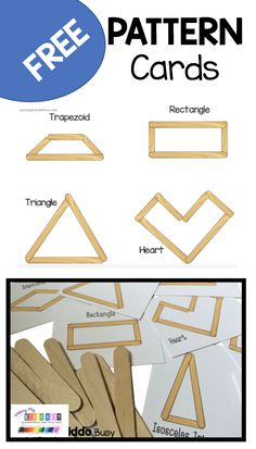 Shape pattern cards for students to copy and create shapes using popsicle sticks Free Preschool, Preschool Printables, Free Math, Preschool Learning, Teaching, Shape Activities Kindergarten, Kindergarten Freebies, Kindergarten Centers, Preschool Shapes