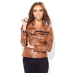 Ready for fall with this G by Giuliana Rancic Distressed Print Ponte Moto Jacket.